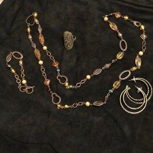 Antique bronze jewelry set